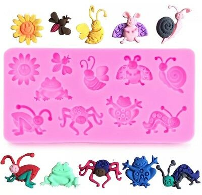 10 Insects/Bugs Silicone Mould/Min Beasts Mold-Resin/Chocolate/Cake Resin-Snail