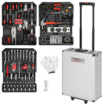 577 Pcs Aluminium Metal Tool Box With Tools Kit Storage Mobile Trolley 3 drawers