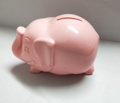 Pink Money box vintage Commonwealth Bank elephant hard plastic trunk up