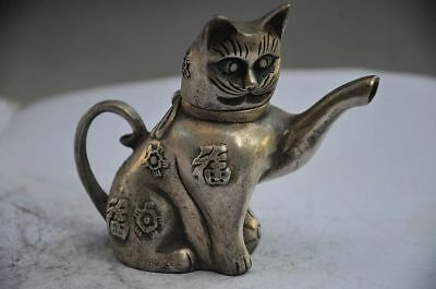 Delicate Chinese Silver Copper Handwork Lovely Cat Teapot