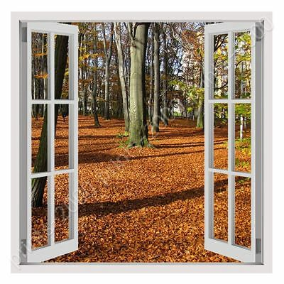 Fallen Leaves In Poland by Fake 3D Window   Ready to hang canvas   Wall art