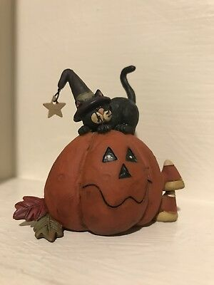 Halloween Black Cat & Pumpkin by Suzi  Figurine