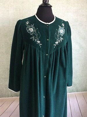 VANITY FAIR Robe Housecoat Gown Nightgown Velour Green Floral Embroidery Small