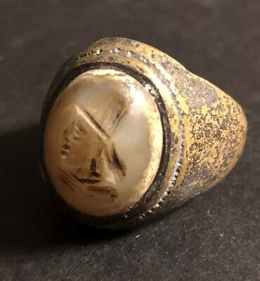 Medieval Or Ancient Intaglio Ring Roman? European? Antique Old Seal Signet King