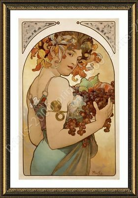 Fruit by Alphonse Mucha | Framed canvas | Wall art giclee oil painting HD