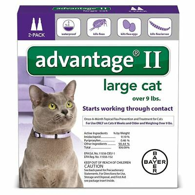 Details about  Bayer Advantage II Flea Control Treatment for Cats Over 9Lbs