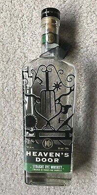 empty whiskey bottle Bob Dylan Heaven's Door Straight Rye Whisky with hang tag