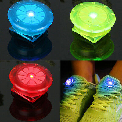 LED Luminous Shoe Clip Light Night Safety Warning Bike Running Sports Outdoor FG