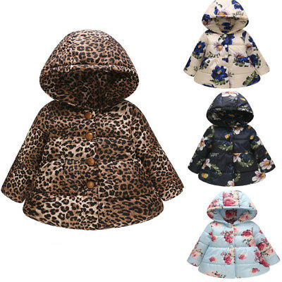 UK Infant Baby Girl Boy Winter Floral Thick Warm Jacket Hooded Windproof Coat