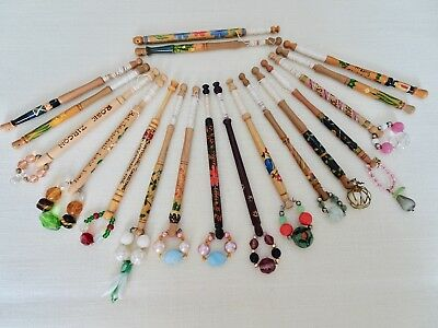 Eighteen Variously Decorated Turned Wood Lace Maker's Bobbins