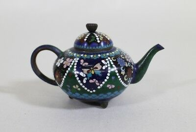 Antique Small Japanese Cloisonne Teapot * Miniature Flowers and Butterflies