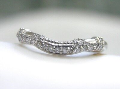 Antique Style New Solid 14Kt White Gold Diamond Deco Filigree Wedding Band Ring