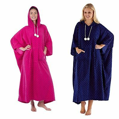 Ladies/Womens Long Fleece Hooded Poncho Lounger Dressing Gown/Robe Navy/Pink