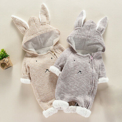 U Newborn Infant Baby Boy Girl Hooded 3D Ear Romper Winter Warm Jumpsuit Clothes