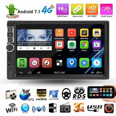 """Quad Core Android 7.1 3G/4G/WIFI 7"""" Touch 2DIN Car Stereo MP5 Player GPS Navi NA"""