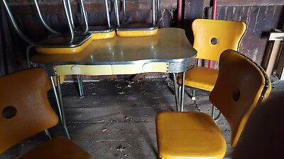 Vintage 1950s Formica & Chrome Kitchen Table w/ 6 Chairs