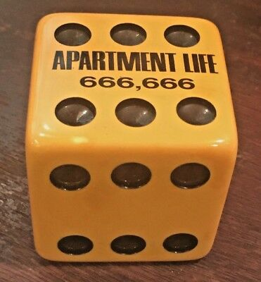 "Extremely RARE HUGE 2"" Advertising JUMBO Bakelite Dice ""Apartment Life 666,666"""