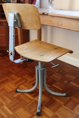 Vintage Industrial Factory Workshop Office Draughtsmans French BAO Swivel Chair