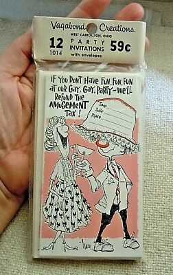"""Vintage Mid Century Modern """"Fun Gay Drinking"""" Party Invitation 12ct pack"""