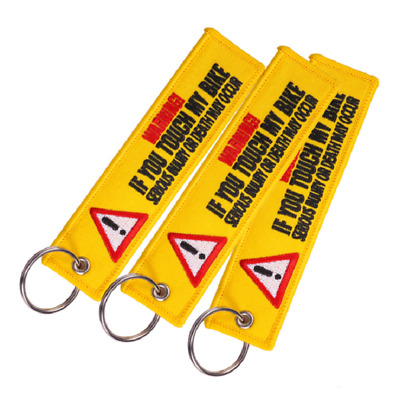 3pcs Yellow Danger Launch Embroidered Keychain Motorcycle Car Keyrings Key Tag
