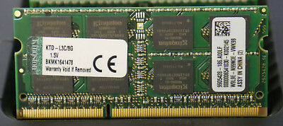 Laptop Memory: Kingston 8GB DDR3 PC3-12800 1600MHz KTD-L3C/8G RJ662