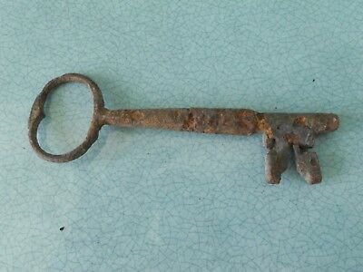 Very Old Genuine Antique Hand Made Medieval ?  Iron Key - 5.25 Inches Long