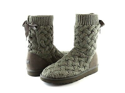 5e3c2eb8b98 UGG AUSTRALIA ISLA Heather Charcoal Gray Knit and Suede Ribbon Tie Boot  Size 11