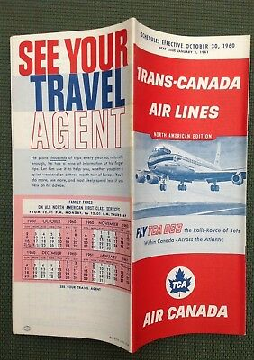 3/1/1959 TRANS-CANADA AIR LINES TIMETABLE North America FLY TCA DC-8