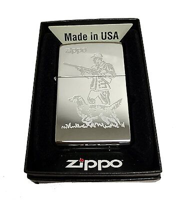 Zippo Custom Lighter Hunter Dog Laser Engraving  Regular High Polished Chrome