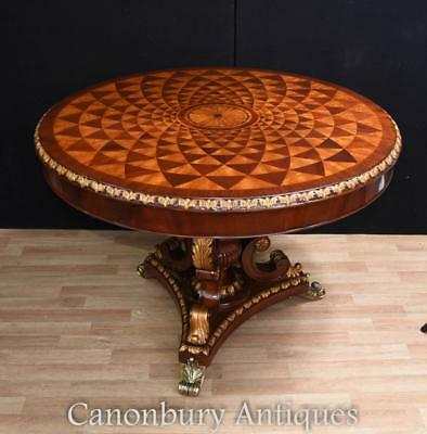 Regency Centre Table - Round Dining Table Mahogany Spyrograph Inlay
