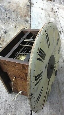 Antique Arched Top Grandfather Clock Face/Wooden Cased Workings and Chime Bell