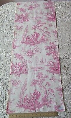 "Antique French c1900-1910 Scenic Country Pink & White Toile Fabric~L-38""X W-14"""