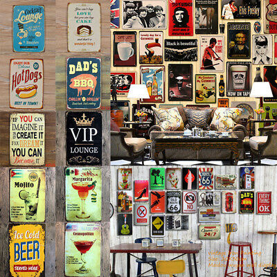 Retro Metal Sign Tin Poster Bar Club Cafe Home Plate Plaque Picture Wall Decor