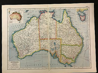 Vintage Map 1920, Australia - Harmsworth's Atlas - A3BK3