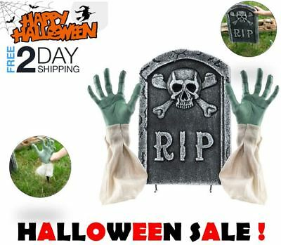 Spooky Halloween Decorations RIP Grave Tombstone with Zombie Hands Arms Set Yard
