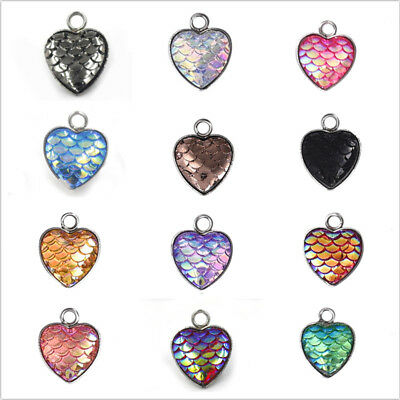 5Pcs Mermaid Fish Scales Heart Pendants 12*12mm DIY Jewelry Making Accessories