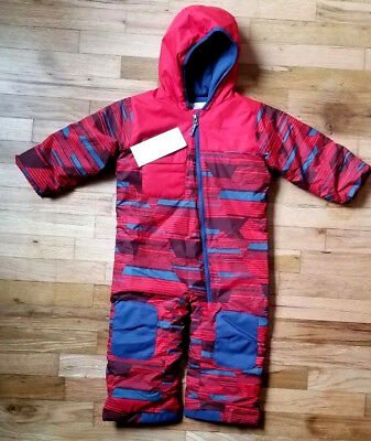 Nwt Columbia Hot Tot Suit Red Geo Waterproof Outgrown Bunting Snowsuit 3T