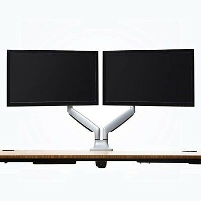 "Jarvis Silver Dual Monitor Arm for 13"" - 32"" monitors, VESA 75 or 100 mm"