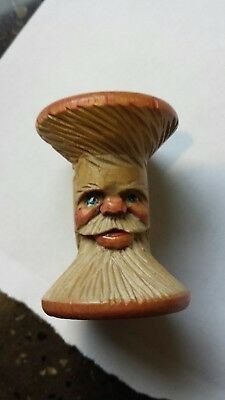 Hand carved wood Santa, made from old wooden sewing thread spool