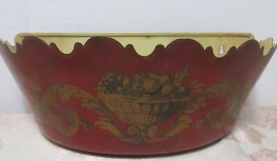 """FRENCH TOLE Toleware RED 14"""" PLANTER DemiLune Wall Hanging Gold Decor Scalloped"""