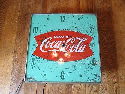 Vintage Coca-Cola Light Up Clock Pam Advertising Clock Fishtail
