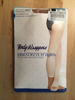 Body Wrappers A31 Adult totalSTRETCH Convertible Foot Tights SUNTAN Size S/M
