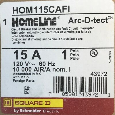 New Circuit Breaker HomeLine Square D HOM115CAFI 15 Amp 1 Pole 120V 10kA