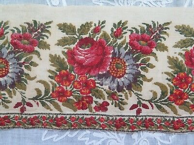"Antique French 1850 Loom Woven Rose Kashmir Wool Border Yardage~L-65""X W-4"""