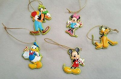 Mickey Mouse Christmas Tree Ornaments Minnie Goofy Pluto Donald Duck Lot of 5
