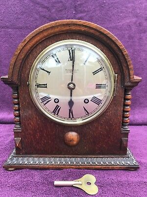 SUPER VINTAGE ANTIQUE RUSSELLS LTD LIVERPOOL CHIMING MANTEL CLOCK WORKING c1910