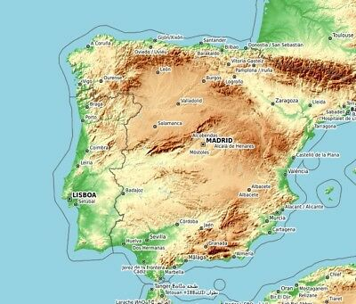 Elevation Map Of Spain.Map E32 Topo Map Of Mexico For Offroad In Baja Garmin Gps Includes