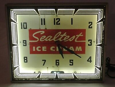 Vintage Original Sealtest Ice Cream Working Neon Clock