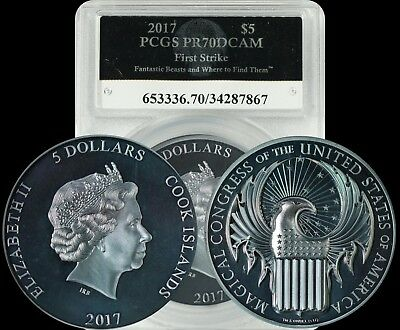 2017 Cook Islands $5 Fantastic Beasts and Where to Find Them PCGS PR70DCAM Coin