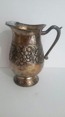 Vintage Pedestaled Silver Plate Embossed Water Pitcher with Ice Guard